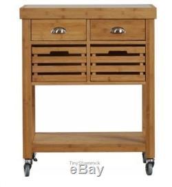 Kitchen Island Cart Rolling Storage Wood Bamboo Storage Cabinet Sideboard Steel