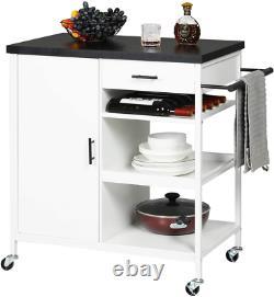 Kitchen Island Cart Serving Cart Rolling Utility Trolley +Drawer Storage Cabinet