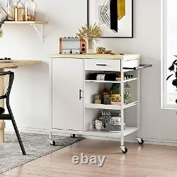 Kitchen Island On Wheels Cabinet Cart Dining Rolling Trolley with Storage Drawer