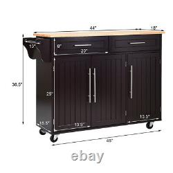 Kitchen Island Rolling Cart Storage Cabinet Trolley withKnife Block Home Brown