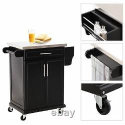 Kitchen Island Rolling Storage Trolley Cart Utility Cabinet Stainless Steel Top