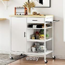 Kitchen Island Trolley Cart Pub Spice Rack Towel Holder Rolling Storage Cabinet