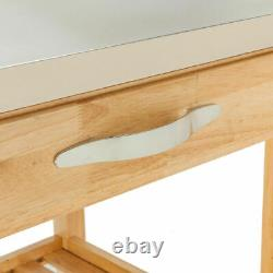 Kitchen Island Trolley Cart Stainless Steel Table Top Rolling With Storage Drawer