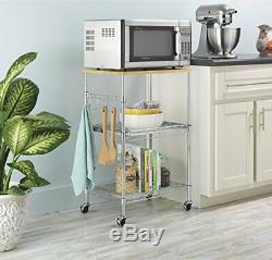Kitchen Microwave Cart Storage Rolling Stand Shelf Utility Table Portable Rack