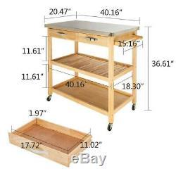 Kitchen Rolling Cart Universal Wheel Wood trolley Island with Storage Drawer&Shelf