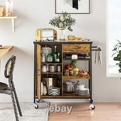 Kitchen Rolling Island Cart Storage Cabinet Shelf Drawer Table Microwave Stand