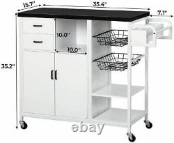 Kitchen Rolling Island Cart/Trolley/Dining Storage Cabinet on Wheels Black
