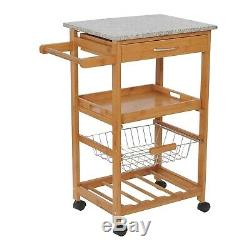 Kitchen Storage Rolling Trolley Cart Wooden with Drawer Wine Rack Steel Baskets