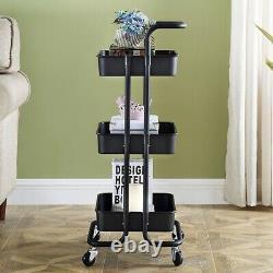 Kitchen Trolley Cart Storage Rack Tray Shelf Rolling Wheel With Handle 3 Tier