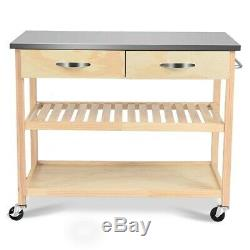 Kitchen Trolley Rolling Cart Island Stainless Steel Top Storage Cabinet Shelves