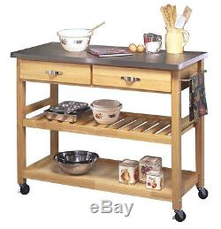 Kitchen Utility Stainless Steel Top Cart Table Storage Rolling Island Butcher