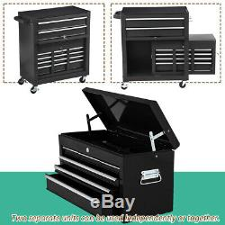 Large 8-Drawer Tool Box Chest Metal Rolling Cabinet Storage Garage Top Detach