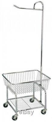 Laundry Basket Storage Cart Rolling Hanging Clothes Butler Chrome Wheels Steel