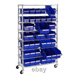 Member's Mark 24-Bin Rolling Steel Rack Storage with 8 Shelves Commercial Grade