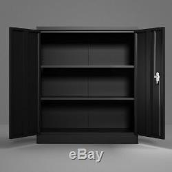Metal File Storage Cabinet Locking Door Withadjustable Shelves Rolling Garage tool