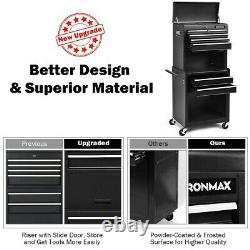 Metal Locking Rolling Cabinet Tool Shop Garage Storage Chest Heavy-Duty Steel