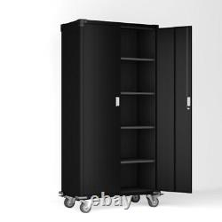 Metal Rolling Cabinet Tool Shop Garage Storage with4 Shelve Shelf & Lock Black