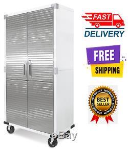 Metal Rolling Garage Tool File Storage Cabinet Shelving Stainless Steel Doors Wh