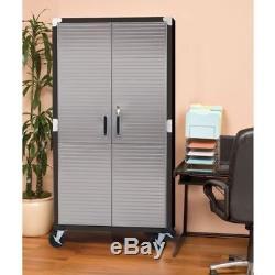 Metal Rolling Garage Tool File Storage Cabinet Stainless Steel Doors Color Black