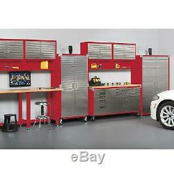 Metal Rolling Garage Tool File Storage Cabinet Stainless Steel Doors, Color Red