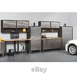 Metal Rolling Garage Tool File Storage Cabinet Stainless Steel Doors Graphite