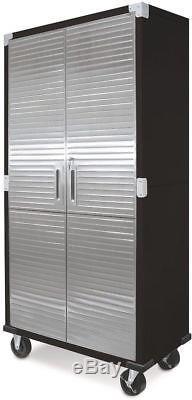 Metal Storage Cabinet Stainless Steel Locking Doors Large Rolling Garage Shop