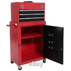 Mini Tool Chest & Cabinet Storage Box Rolling Garage Toolbox Organizer 2pcs