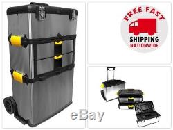 Mobile 3part Stainless Steel Tool Box Storage Chest Rolling Organizer Work Cart