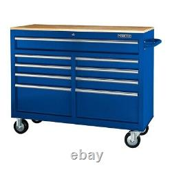 Mobile Storage Cabinet With Solid Wood Top 9 Drawer Steel Rolling Tool Box Blue