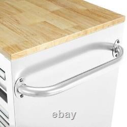 Mobile Storage Cabinet With Solid Wood Top 9 Drawer Steel Rolling Tool Box White