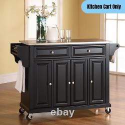 Modern Mobile Kitchen Cart Stainless Steel Top Portable Rolling Storage Black