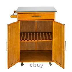 Modern Rolling Kitchen Cart Island Wood Top Storage Trolley Cabinet Utility Cart