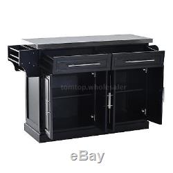 Modern Rolling Kitchen Island Storage Cart with Stainless Steel Top Black R3C3