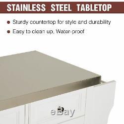 Modern Wooden Rolling Kitchen Cart Island Cabinet Storage Utility White
