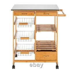 Moveable Rolling Kitchen Island Trolley Cart Storage Stainless Steel Table Wood