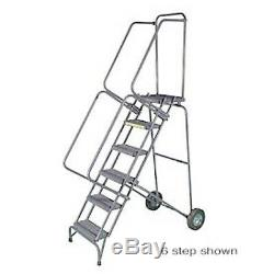 NEW! 9 Step 16W Stainless Steel Fold & Store Rolling Ladder-Perforated Tread