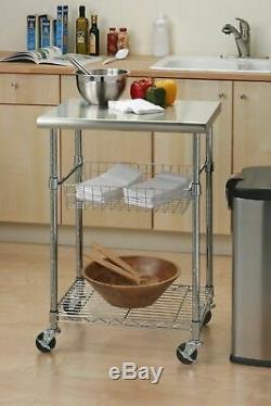 NEW Kitchen Island Cart Rolling 3 Tier Steel Cutting Board Storage Basket Top