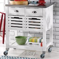 NEW Kitchen Island White Utility Cart Rolling 2 Baskets Storage Stainless Steel