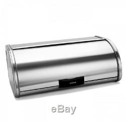 New Brabantia Storage Touch Bread Bin Large Matt Steel Kitchen Roll Top Silver