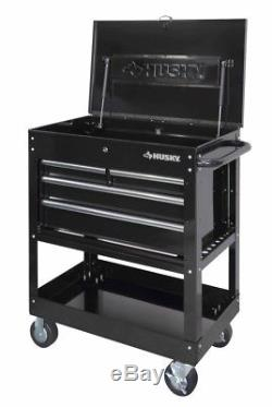 New Husky Rolling Tool Utility Cart Black 33in 4-Drawer Mechanics Mobile Storage