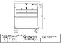 New Husky Rolling Tool Utility Cart Black 33in 4-Drawer Mechanics Mobile Storage