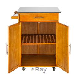 New Wood Kitchen Trolley Cart Stainless Steel Top Rolling Storage Cabinet Island