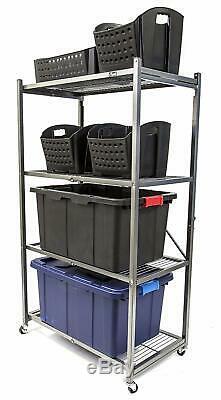 Origami 4-Shelf Foldable Storage Shelves for Garage Kitchen Bakers Closet, Met