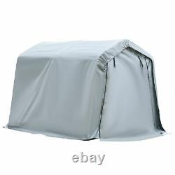 Outsunny 8' x 6' Outdoor Car Tent Carport Storage Shelter Roll-up Door Grey