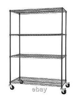 PRO Black 4-Tier Rolling Steel Wire Garage Storage Shelving Unit. 48W x 77H x24D