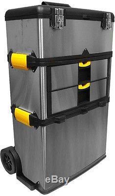 Portable Metal Tool Box Chest Storage Organizer Drawer Tray Rolling Wheel NEW