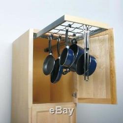 Pot Pan Pantry Roll Out Organizer Movable Hooks Rubber Grip Kitchen Storage Rack