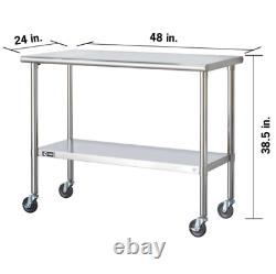 Prep Table Kitchen Cart Storage Stainless Steel Island Utility Rolling Work Top