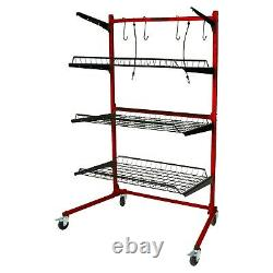 ProLific Parts Caddy PRO Base Model Rolling Metal Rack Red Auto Tools Storage