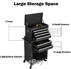 Professsional 2 in 1 Rolling Tool Chest Storage Cabinet With 6 Drawers & 2 Trays
